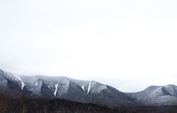 New Hampshire's White Mountains are a sharp contrast between dark trees and stark-white snow.
