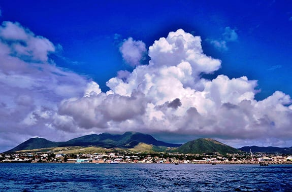 Clouds gather over the Caribbean island of St. Kitts.